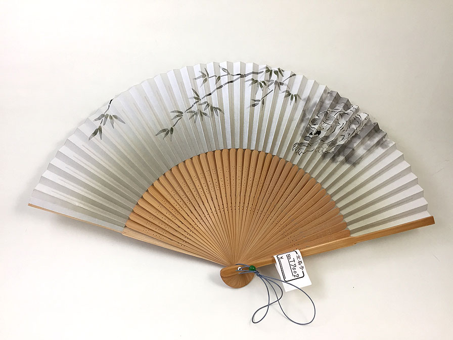 【男性用】竹と虎が描かれた男性用京扇子(T7002)