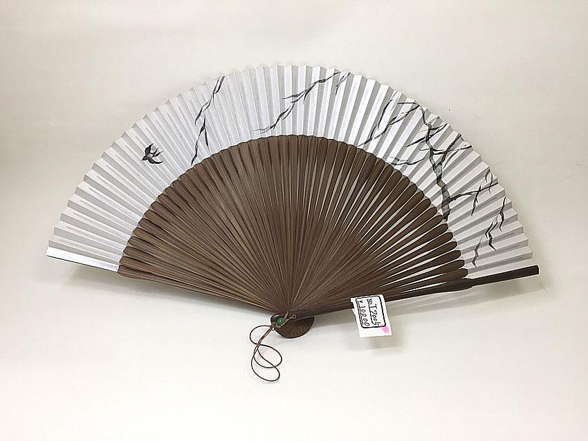 【男性用】柳に燕が描かれた男性用京扇子(T7005)【在庫1本限り】