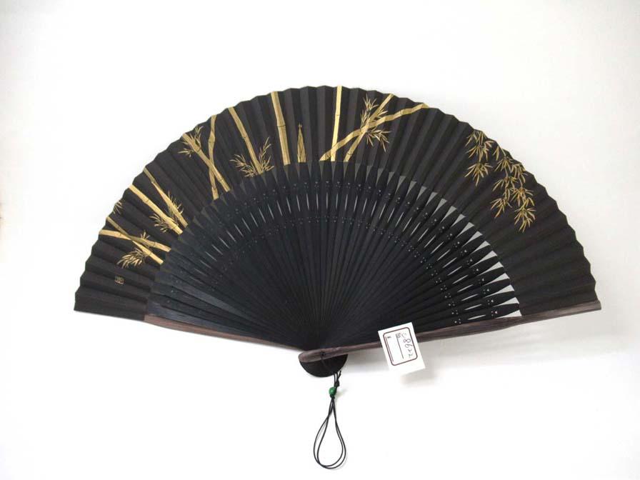 金彩の竹を描いた男性用京扇子(C8622)