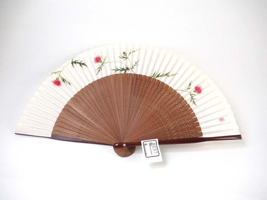 【女性用】あざみが描かれた女性用京扇子(B8707)