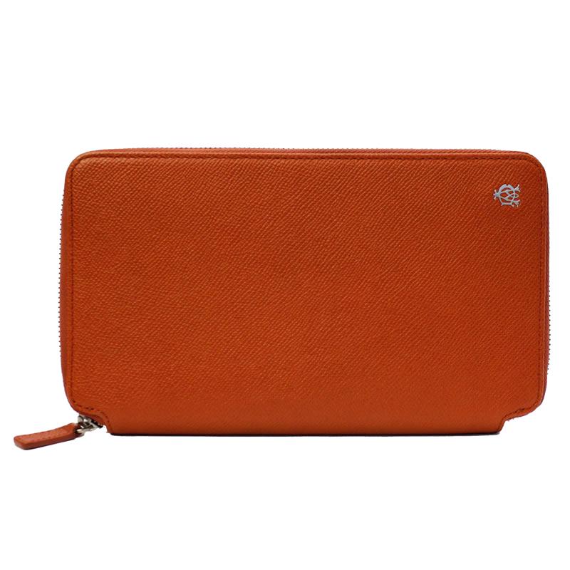 【dunhill ダンヒル 長財布】 ラウンドファスナー 長財布 オレンジ 中古 美品【中古】