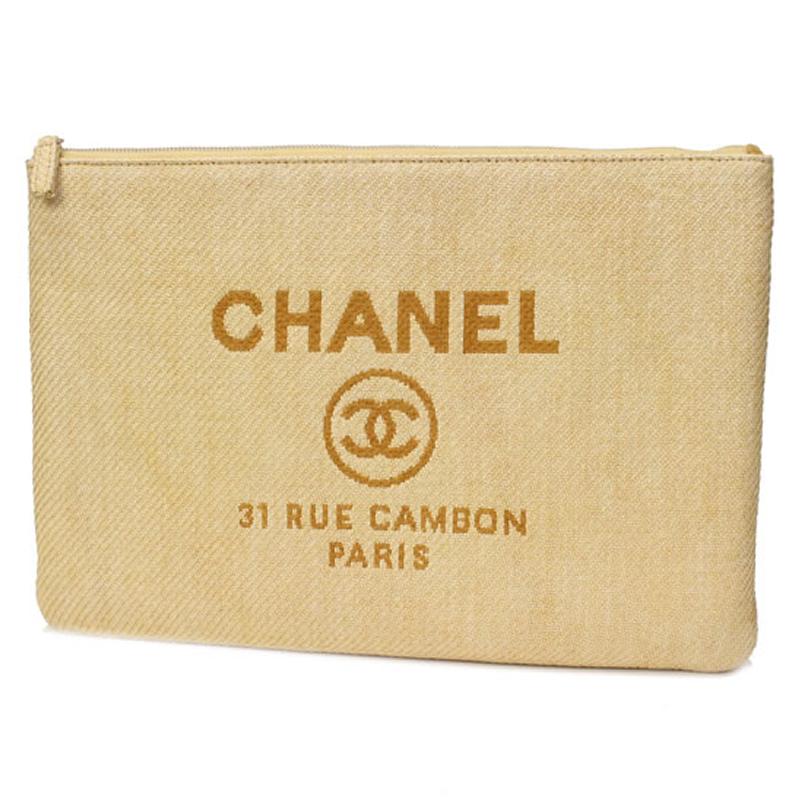 【CHANEL シャネル】ドーヴィル クラッチバッグ ポーチ イエロー×シルバー金具 キャンバス Clutch bag【中古 新品同様品】
