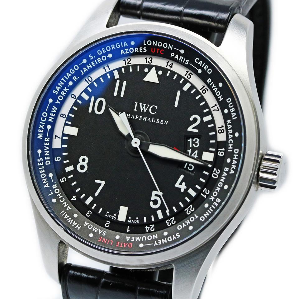 IWC Pilots Watch World Timer IW326201アイダブリューシー インターナショナルウォッチカンパニー パイロットウォッチ ワールドタイマー 自動巻き デイト表示ブラック アラビア 【中古】【PAWN SHOP】【質屋出店】