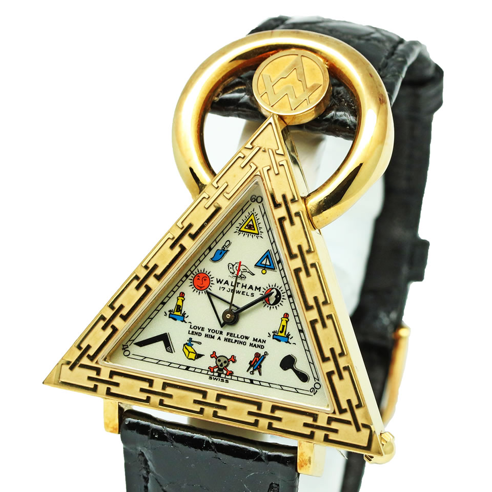 WALTHAM Freemasonry Watch 96380ウォルサム フリーメイソン K18YG金無垢 手巻き 腕時計 ノンポリッシュ状態【中古】【京都屋質店】【PAWN SHOP】【質屋出店】