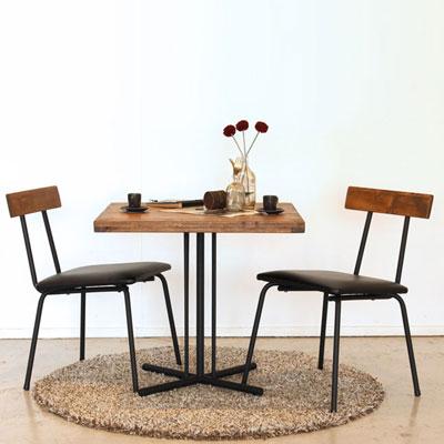 【インダストリアルファニチャー】TOMケルト カフェテーブル3点セット パイン材 アイアンフレーム ビンテージ コーヒーテーブル チェア2脚 食卓セット