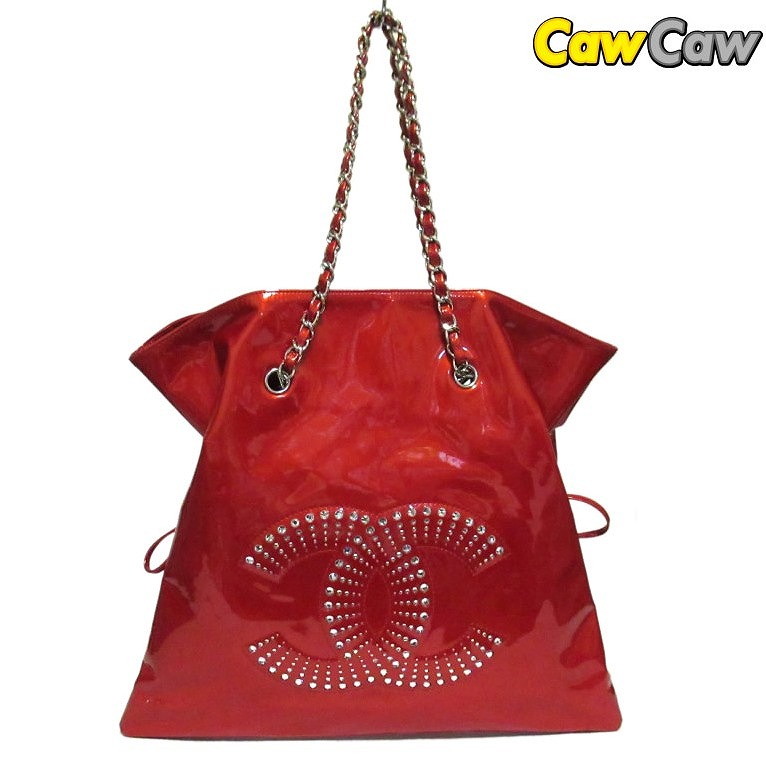 938aabdaa716 Chanel bonbon Thoth patent here mark red chain shoulder bag CHANEL Vintage  Strass CC