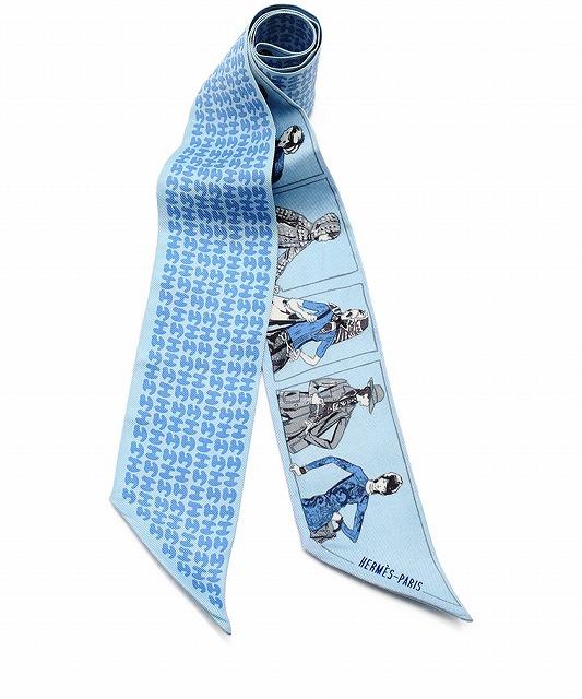 HERMES エルメス ツイリー シルク スカーフ エルメスを纏った人 貴婦人柄×H柄 リバーシブル【中古】