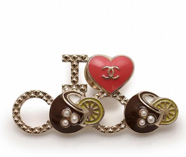 CHANEL シャネル ピン ブローチ I love coco ゴールド ピンク G17C A96415【送料無料】【中古】