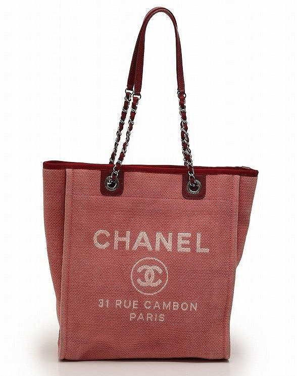 1bcac84b56cd Chanel Deauville tote bag chain canvas leather pink red A66939CHANEL bag ...