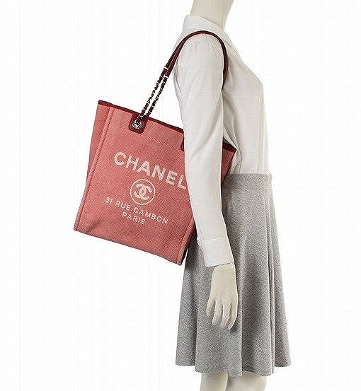 a742578d4e1b ... Chanel Deauville tote bag chain canvas leather pink red A66939CHANEL bag  ...