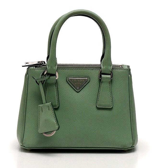 Prada Handbag Shoulder Bag Mini Green Yellowish サフィアーノレザー Acquamarina 1bh907 Key Ring Charm Guarantee 2way