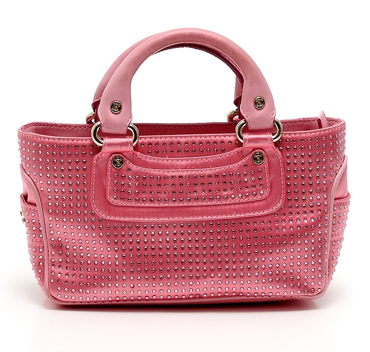 セリーヌ バッグ ラインストーン ミニブギーバッグ ピンク CELINE ハンドバッグ【送料無料】【中古】CELINE