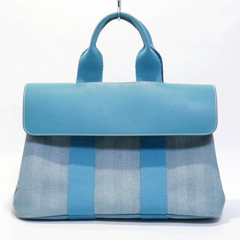 HERMES エルメス ヴァルパライソPM ハンドバッグ ポーチ付き ブルー【送料無料】【中古】