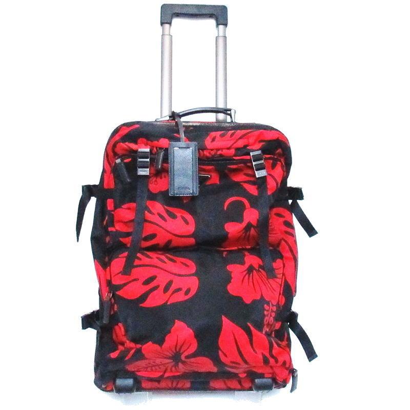 PRADA プラダ キャリーバッグ スーツケース ナイロン ブラック・レッド ハイビスカス【送料無料】【中古】
