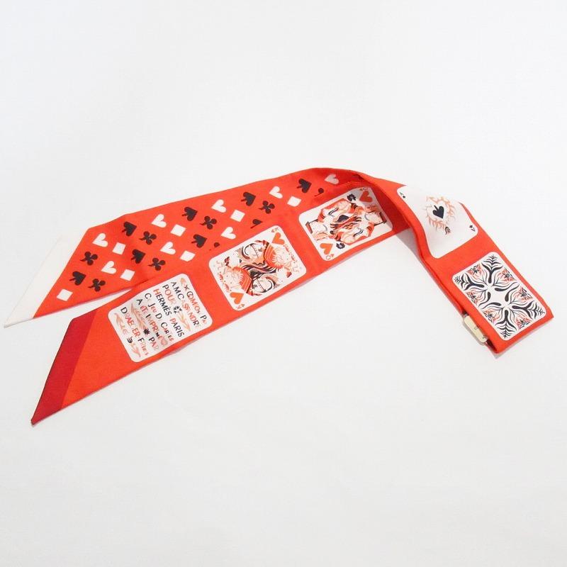 HERMES エルメス ツィリースカーフ トランプ柄 オレンジ【未使用品】