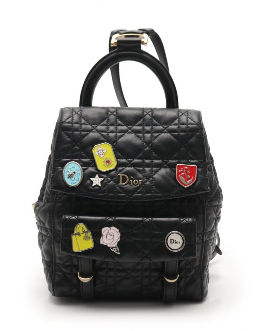 Christian Dior クリスチャンディオール スターダスト バックパック ミニリュック ブラック 17-BO-1106【送料無料】【中古】