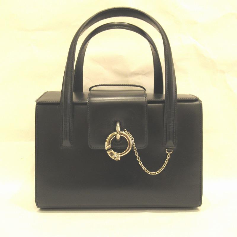 Cartier カルティエ パンサー ハンドバッグ カーフレザー ブラック【送料無料】【中古】
