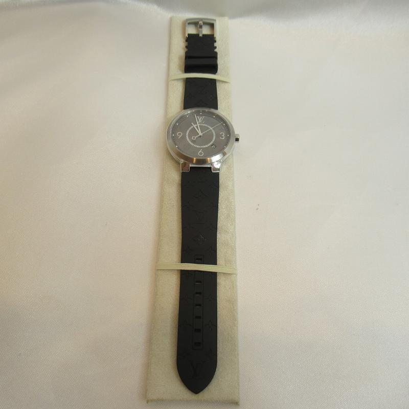 LOUIS VUITTON ルイヴィトン Q1DM0Z タンブール スリム 腕時計 エクリプス39 モノグラムエクリプス クオーツ メンズ ブラック【送料無料】【中古】