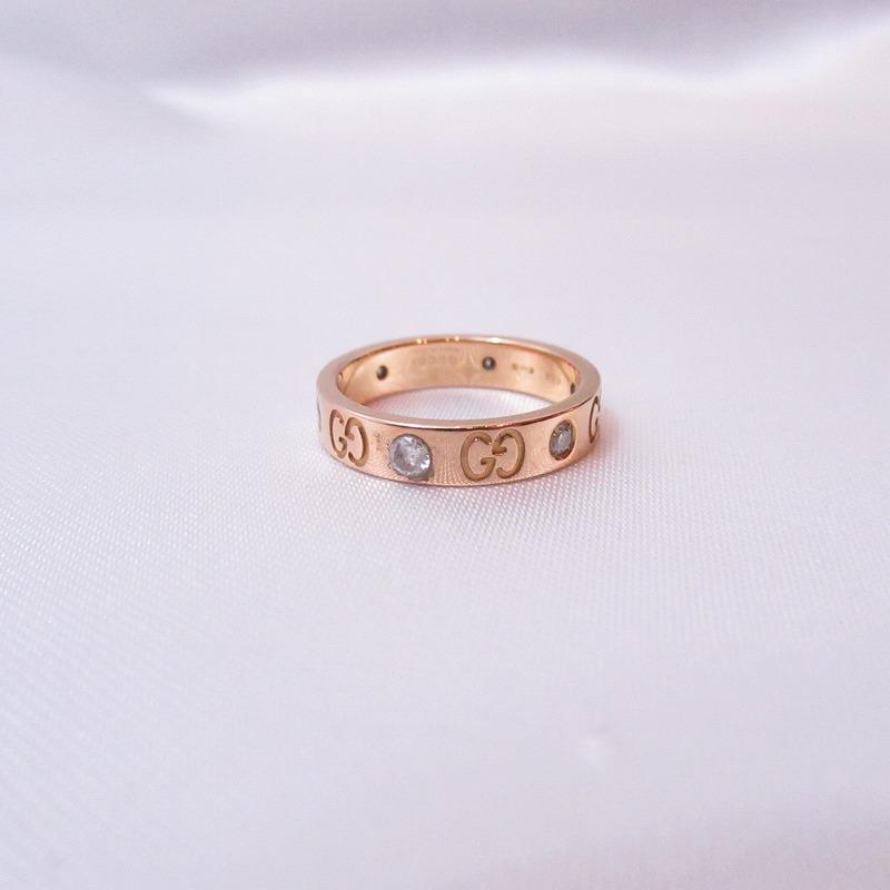 GUCCI グッチ K18イエローゴールド アイコンリング 6Pダイヤモンド 指輪 12号【送料無料】【中古】