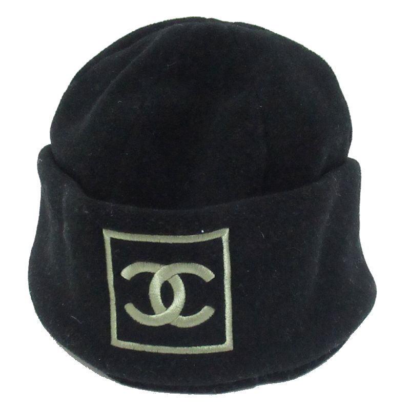 高品質 CHANEL シャネル アパレル スポーツライン ココマーク フリース 帽子 中古 ワッチキャップ 送料無料 ブラック 贈答品
