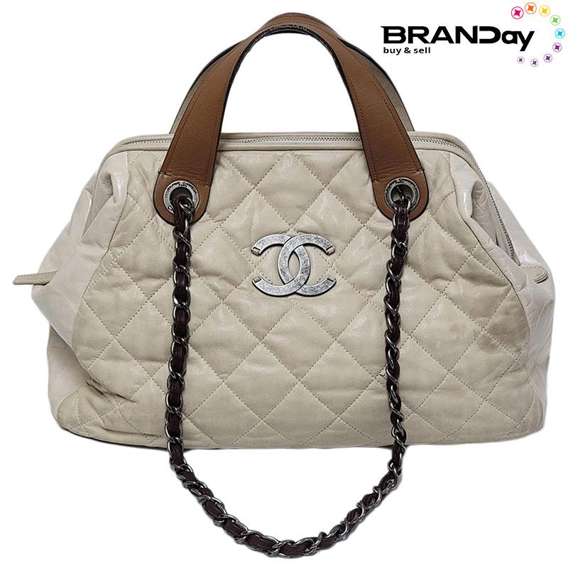 CHANEL シャネル 国産品 バッグ A49683 インザミックス 2way ラムスキン ハンドバッグ 高品質 トートバッグ 中古 ベージュ チェーン