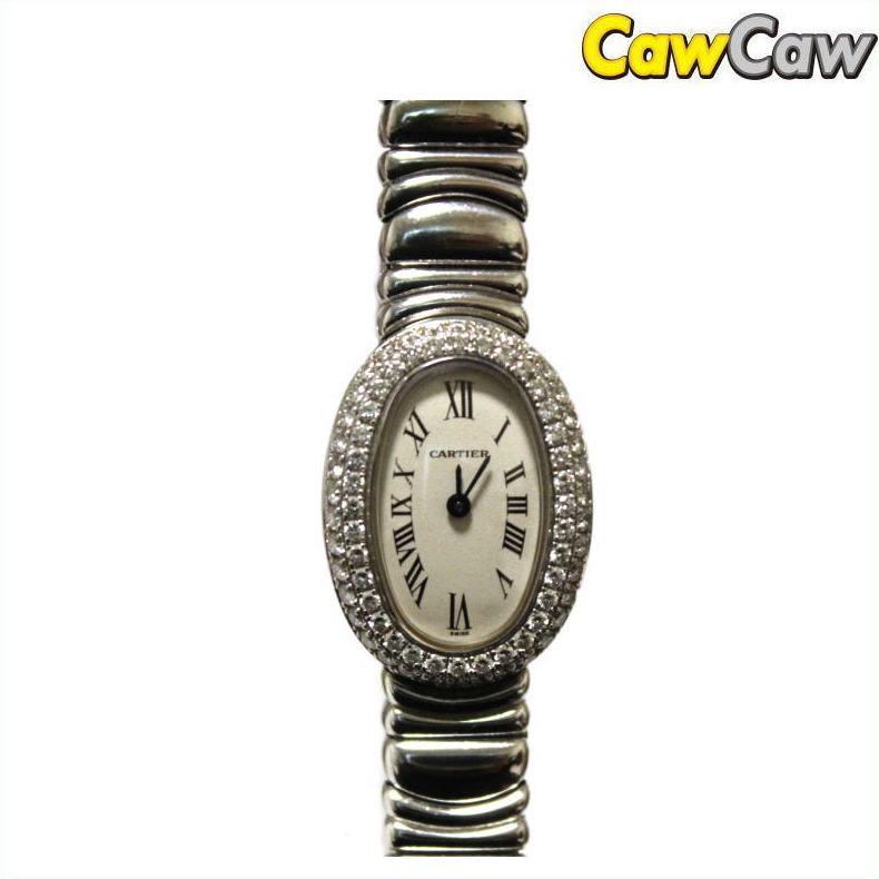 カルティエ 腕時計 BAIGNOIRE ダイヤ ミニベニュワール ベゼルダイヤ レディース クォーツ【送料無料】【中古】Cartier