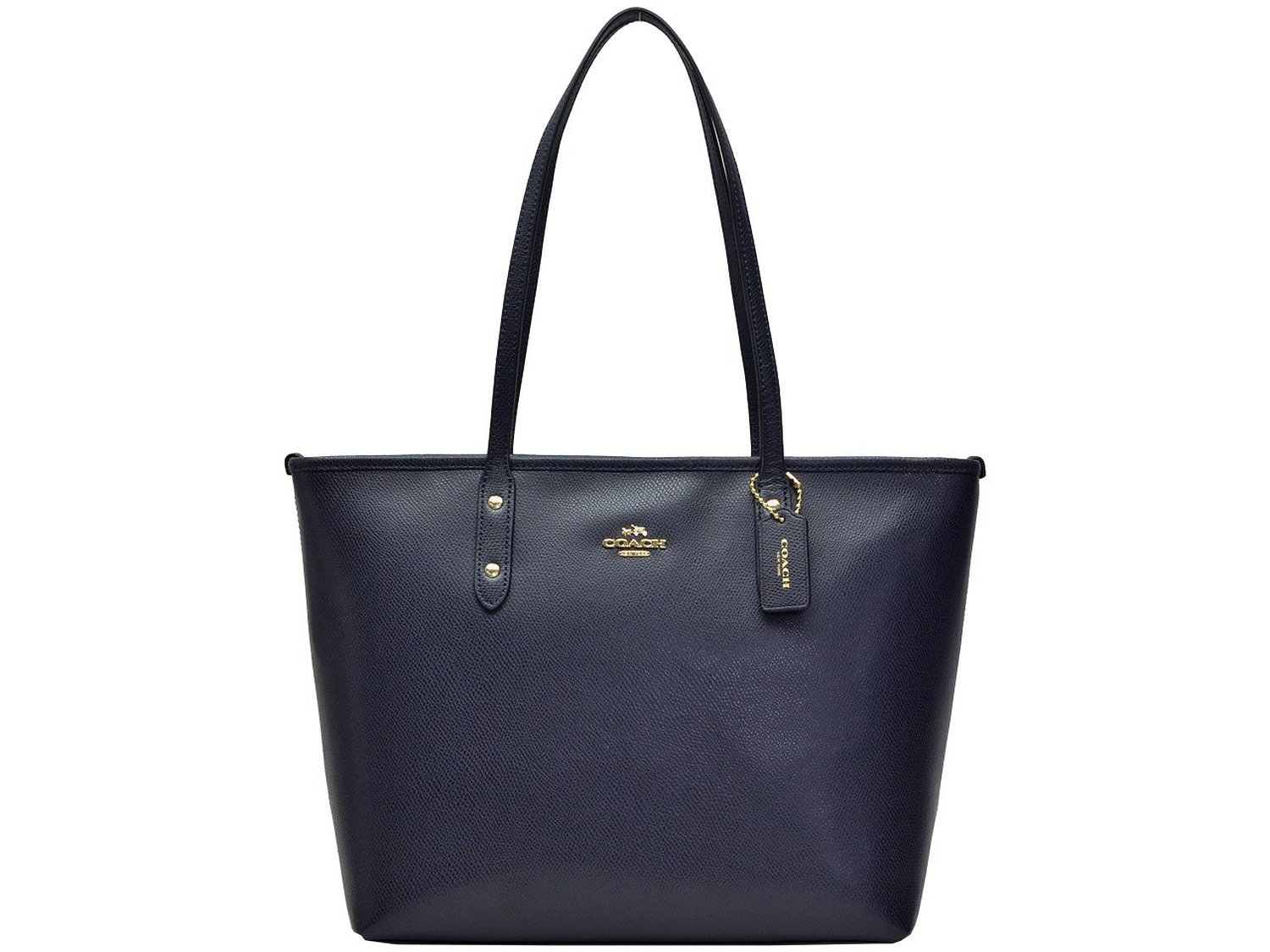 b4cdfbcabf ... cheapest coach coach womens tote bag f36875 midnight navy luxury cross  grain leather city zip top