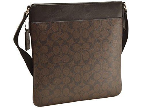 COACH mens shoulder bag F54781 mahogany x Brown Charles signature PVC leather cross-body