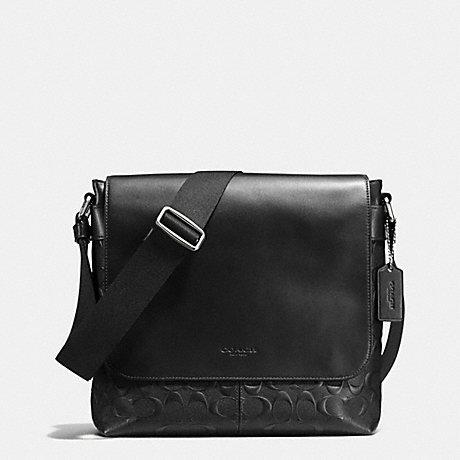 Game  COACH men s signature shoulder bag F72220 black (black) Charles  small Messenger signature cross grain leather capdase 367d72a51f