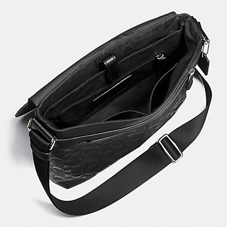 COACH 남성용 시그니처 숄더 가방 F72220 블랙 (검정) 찰리 스몰 메신저 시그너처 크로스 그레인 레더 [병행 수입품]