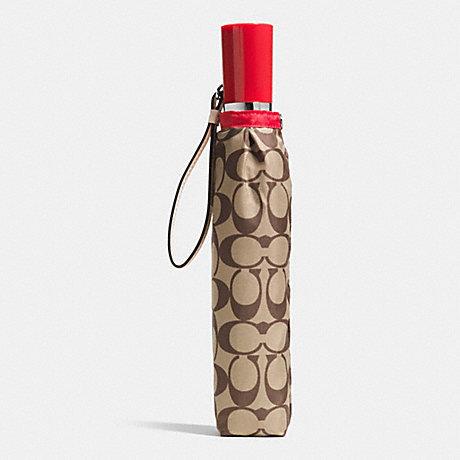 COACH unisex folding umbrella F63364 khaki * vermilion signature umbrella [parallel import goods]