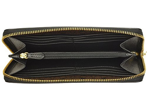 COACH women's long wallet F54007 black luxury cross-grain leather accordion zip around IMBLK [parallel import goods]
