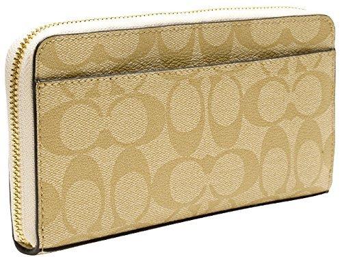 outlet store d2a18 0a03f COACH Lady's long wallet F54632 khaki X chalk signature PVC accordion zip  IMDQC [parallel import goods]