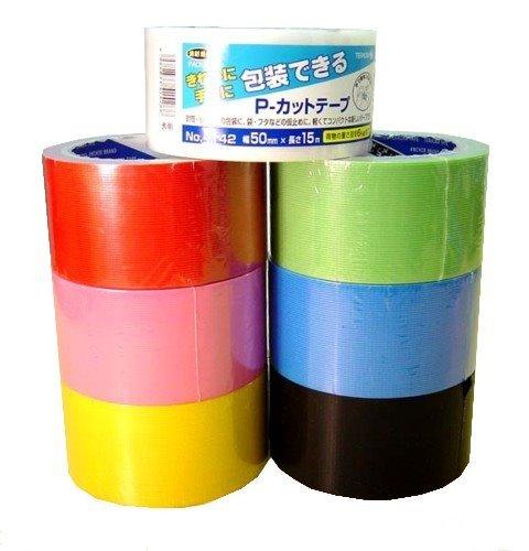 寺岡 カラー養生テープ50mm×15m×50巻 送料無料