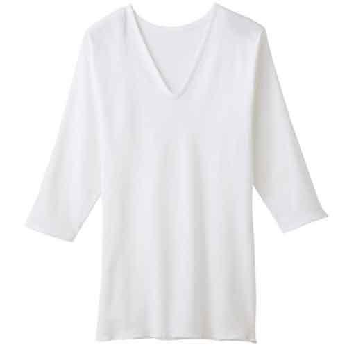 日本製 気持ちがいいがいつまでも メール便 AM60 グンゼ 快適工房 送料無料でお届けします V型7分袖スリーマー ホワイト ◆高品質 KH5046 女性用肌着 Mサイズ