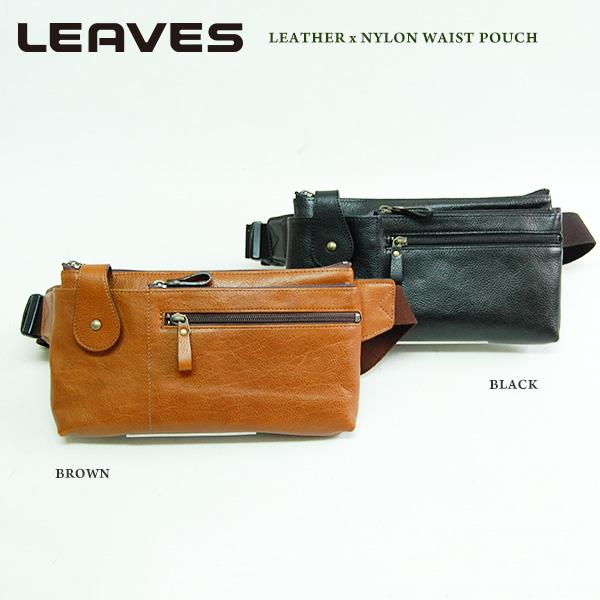 送料無料 (リーブス)LEAVES 牛革×ナイロン薄型ウエストポーチ IJ-827 携帯電話ポケットiphone7plusサイズ対応