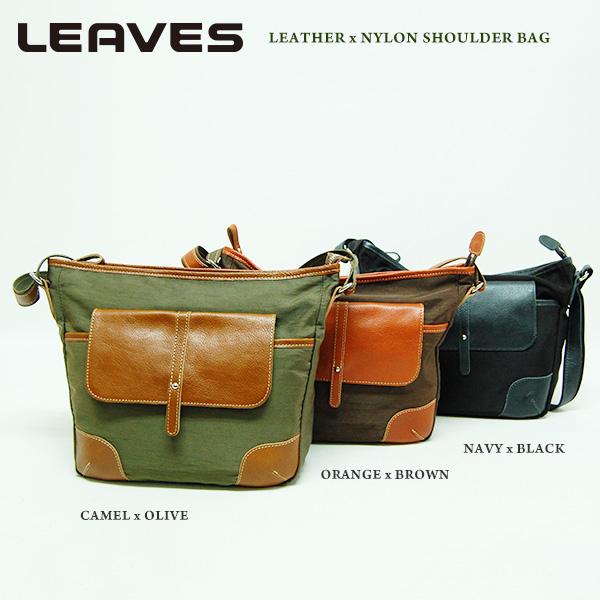 (リーブス)LEAVES 牛革とナイロンのコンビショルダーバッグ IJ-828 全3色 男女兼用 軽量
