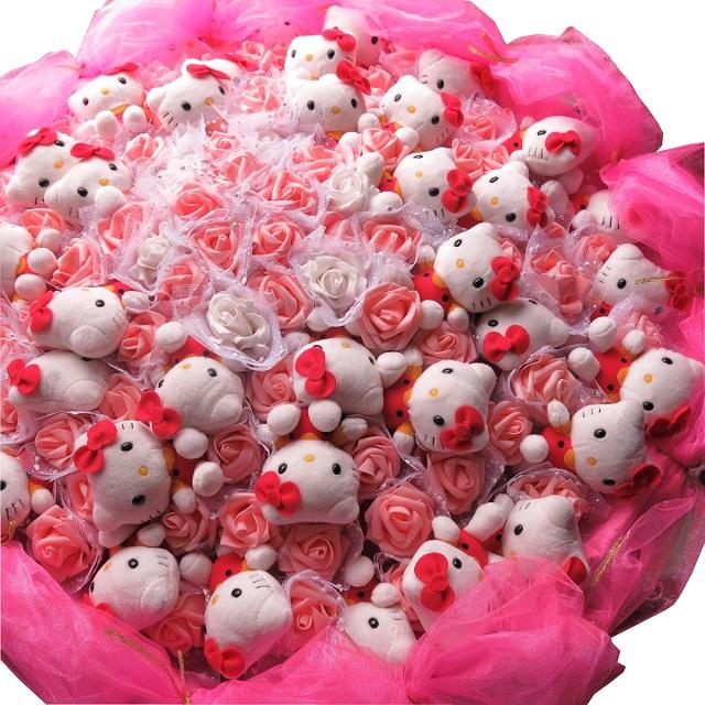 誕生日プレゼント キティ 花束 フラワーギフト キティ 40個 キティ 特大 ブーケ プレゼント 枯れないシルクフラワー使用花束