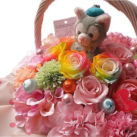 誕生日プレゼント ジェラトーニ ぬいぐるみ 花束風 フラワーギフト レインボーローズ プリザーブドフラワー入りギフト キャンディーカラー