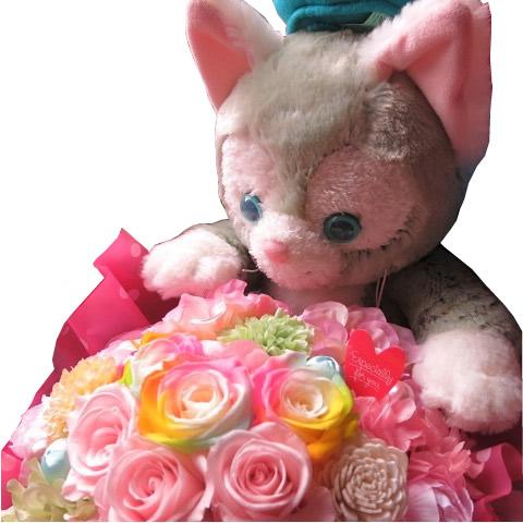 クリスマスプレゼント ジェラトーニ ぬいぐるみ 花束風 ジェラトーニがお花を抱えた サプライズ ジェラトーニ カラフル プリザーブドフラワー入り ◆大切なあの人を笑顔にしちゃう魔法のフラワーギフト♪
