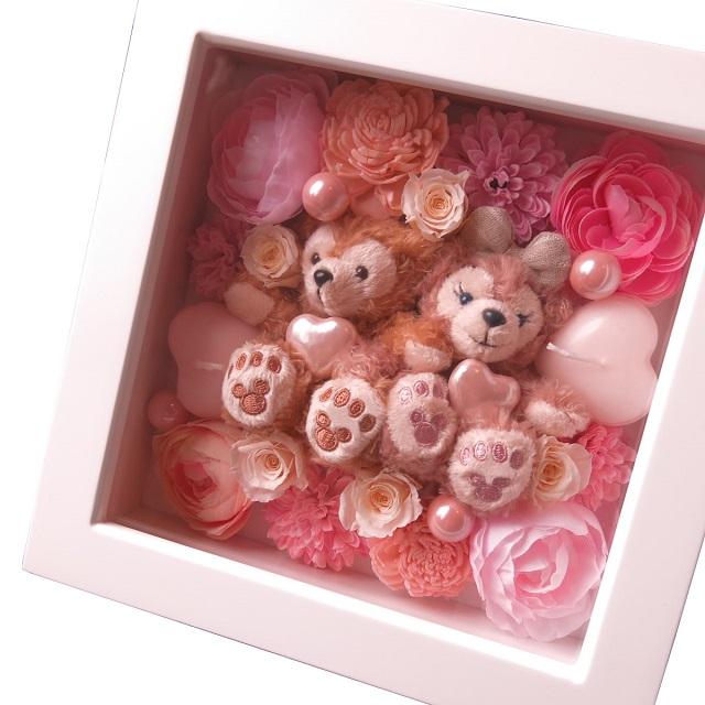 誕生日プレゼント ダッフィー ぬいぐるみ 花 プリザーブドフラワー入り 壁掛け ダッフィー シェリーメイ 誕生日プレゼント 記念日の贈り物におすすめのフラワーギフト