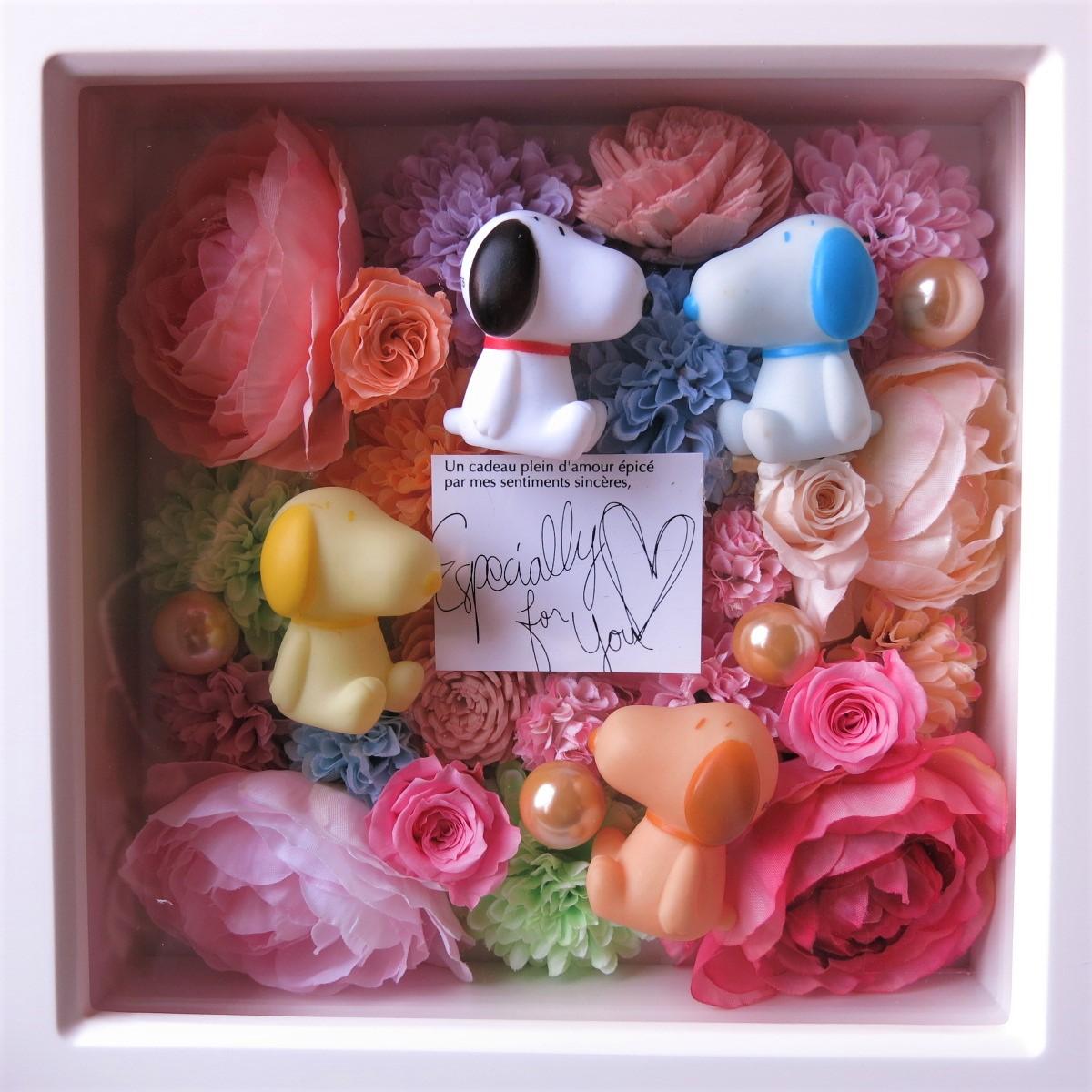 母の日プレゼント スヌーピー マスコット入り 花 プリザーブドフラワー入り 壁掛け カラフルフラワー