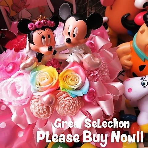 誕生日プレゼント ディズニー 花束風ギフト レインボーローズ プリザーブドフラワー入りギフト ミッキー ミニー ウェディングドール ケース付き ミッキーマウス ミニーマウス