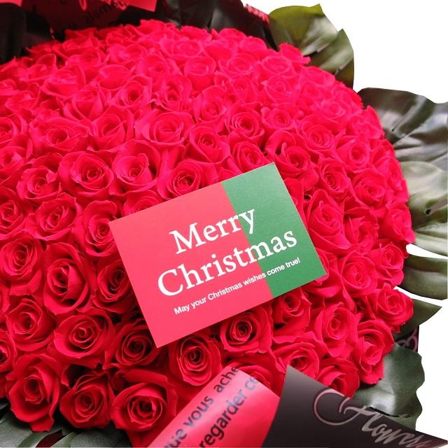 クリスマスプレゼント 赤バラ 100本 花束 枯れないプリザーブドフラワー使用