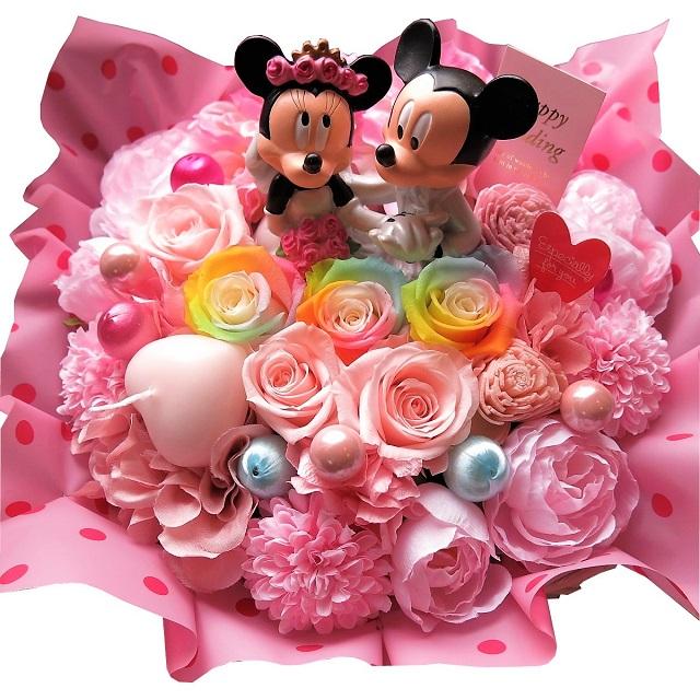 結婚記念日 プレゼント 花 ミッキー ミニー タキシード ドレス フィギュア レインボーローズ入り プリザーブドフラワー ケース付き