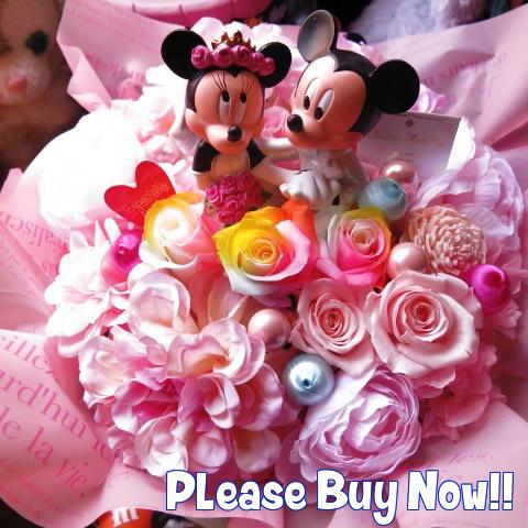 ディズニー 結婚祝い ミッキー ミニー入り 花束風ギフト ウェディングフィギュア レインボーローズ入り プリザーブドフラワー ケース付き