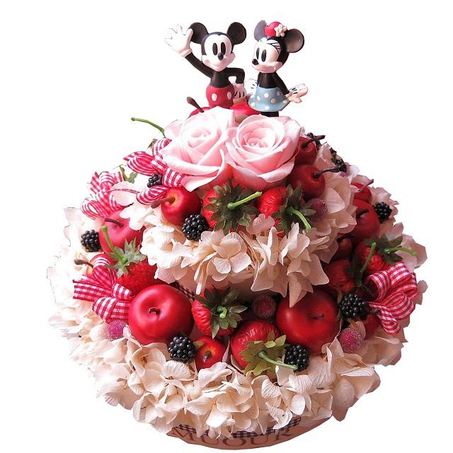 結婚記念日 ディズニー 花 フラワーケーキ フラワーギフト プリザーブドフラワー 7号ケーキ ノーマル ミッキー ミニー