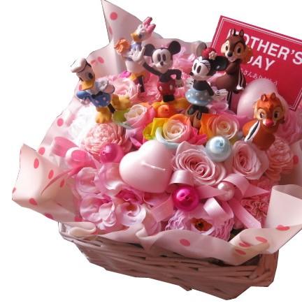 母の日プレゼント ミッキー ミニー ドナルド デージー チップ&デール入り 花束風 ディズニー フラワーギフト レインボーローズ プリザーブドフラワー入り ケース付き