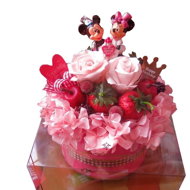 誕生日プレゼント 母親 ディズニー 在庫一掃 花 フラワーギフト 在庫一掃売り切りセール バースデーA プリザーブドフラワー入り ケース付き 記念日の贈り物におすすめのフラワーギフト フラワーケーキ