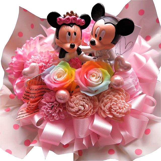 ディズニー 結婚記念日 花 ミッキー ミニー ウェディングフィギュア レインボーローズ入り プリザーブドフラワー ケース付き